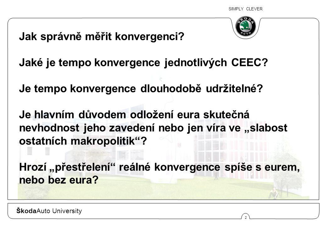 SIMPLY CLEVER 2 Jak správně měřit konvergenci? Jaké je tempo konvergence jednotlivých CEEC? Je tempo konvergence dlouhodobě udržitelné? Je hlavním dův