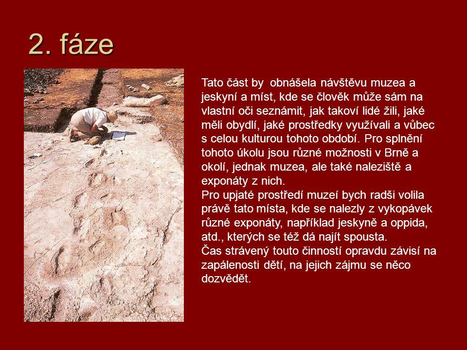 2. fáze Tato část by obnášela návštěvu muzea a jeskyní a míst, kde se člověk může sám na vlastní oči seznámit, jak takoví lidé žili, jaké měli obydlí,
