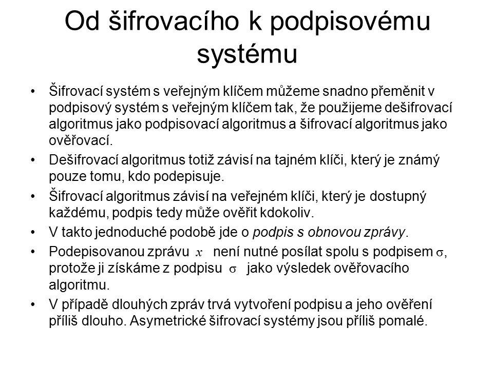 Od šifrovacího k podpisovému systému Šifrovací systém s veřejným klíčem můžeme snadno přeměnit v podpisový systém s veřejným klíčem tak, že použijeme