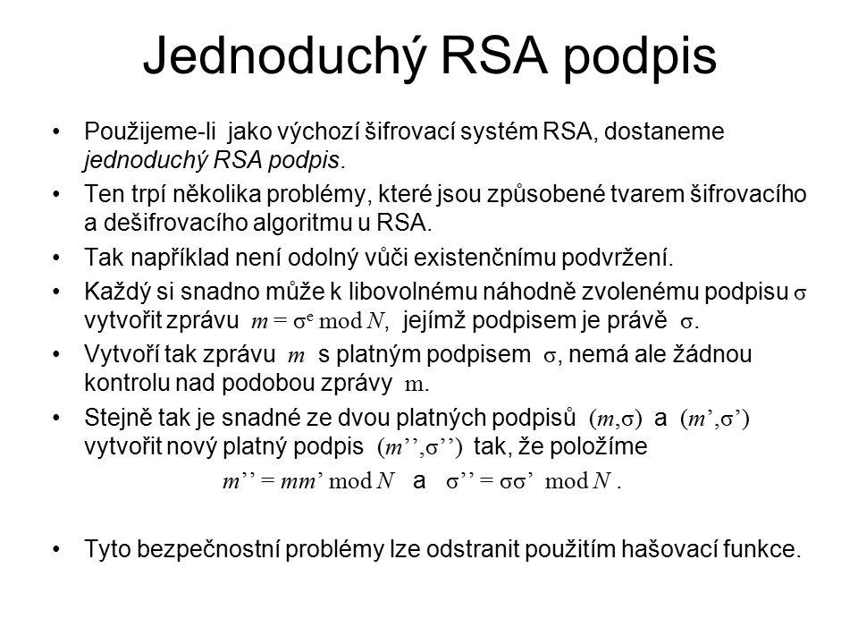 Jednoduchý RSA podpis Použijeme-li jako výchozí šifrovací systém RSA, dostaneme jednoduchý RSA podpis. Ten trpí několika problémy, které jsou způsoben