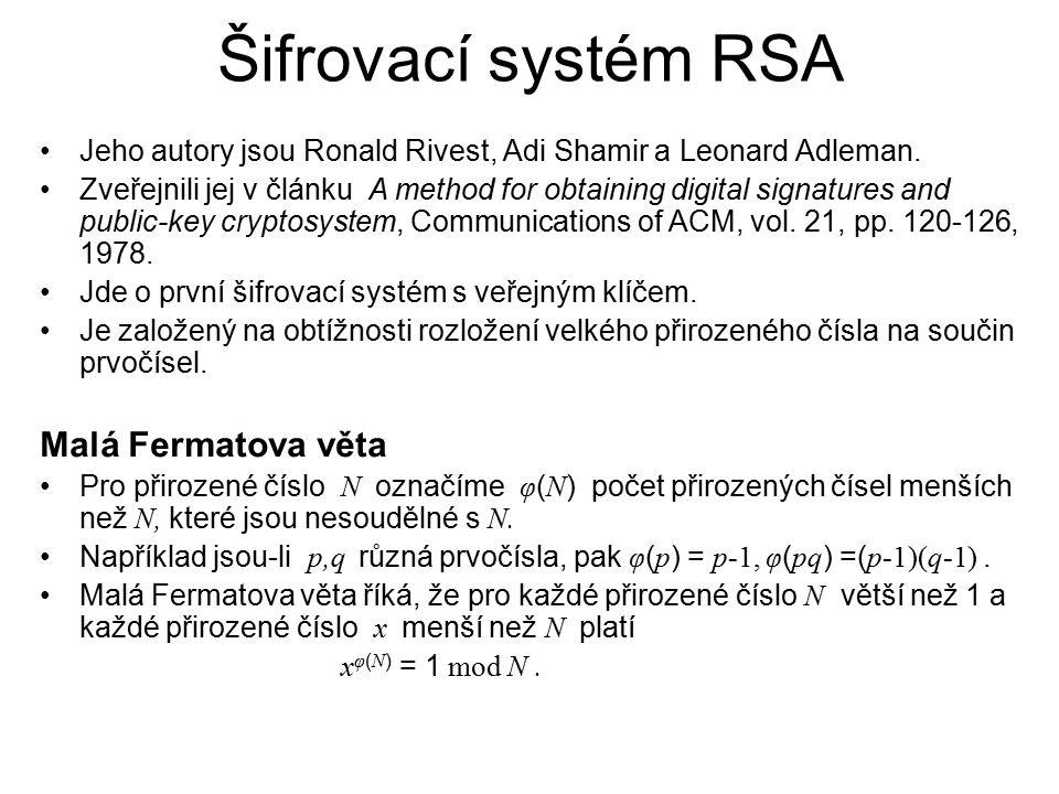 Šifrovací systém RSA Jeho autory jsou Ronald Rivest, Adi Shamir a Leonard Adleman. Zveřejnili jej v článku A method for obtaining digital signatures a
