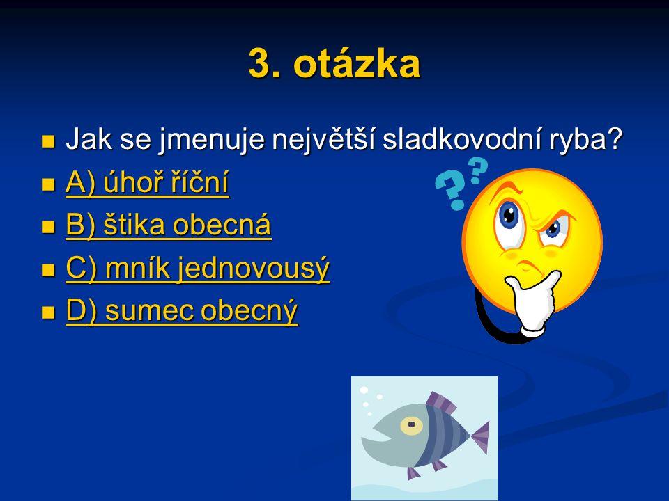 3. otázka Jak se jmenuje největší sladkovodní ryba? Jak se jmenuje největší sladkovodní ryba? A) úhoř říční A) úhoř říční A) úhoř říční A) úhoř říční