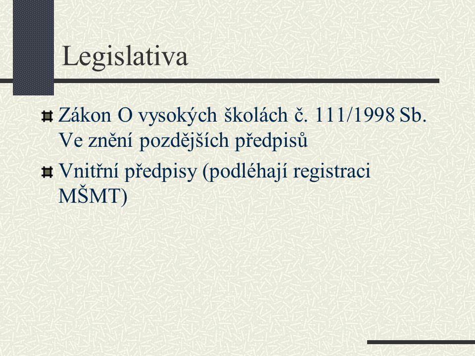Legislativa Zákon O vysokých školách č. 111/1998 Sb.