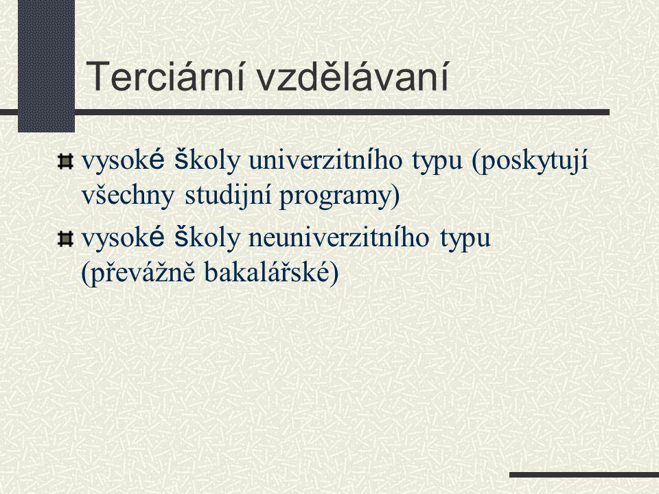 Terciární vzdělávaní vysok é š koly univerzitn í ho typu (poskytují všechny studijní programy) vysok é š koly neuniverzitn í ho typu (převážně bakalářské)