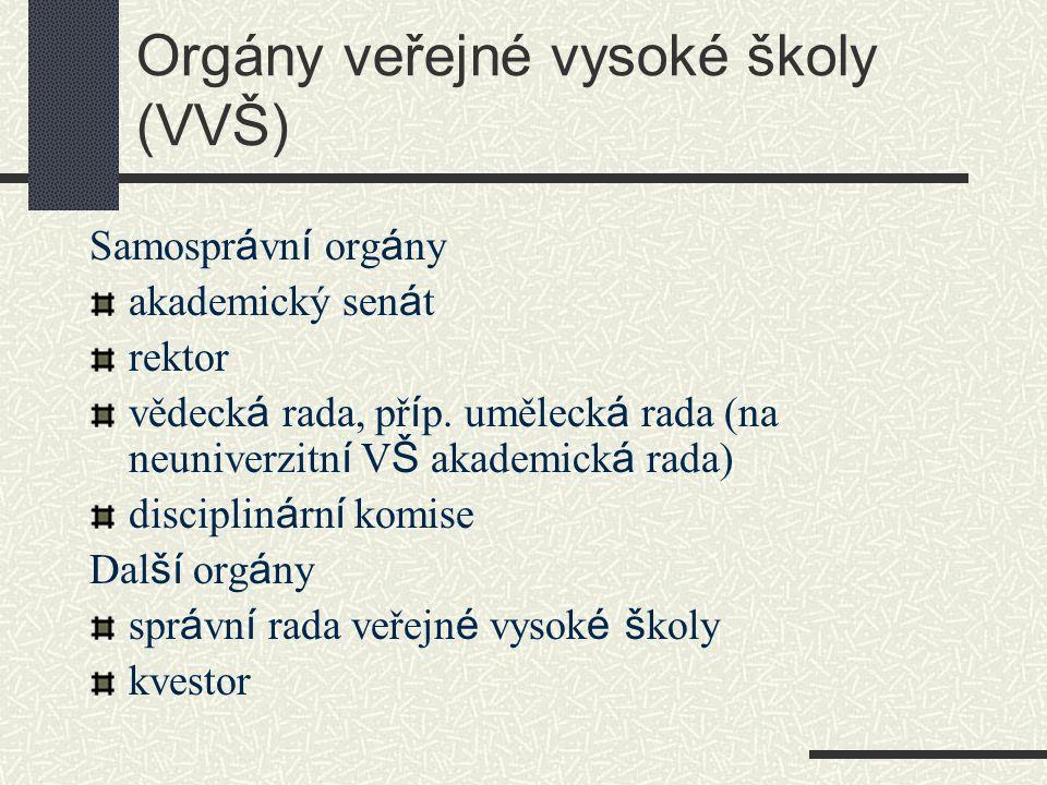 Orgány veřejné vysoké školy (VVŠ) Samospr á vn í org á ny akademický sen á t rektor vědeck á rada, př í p.