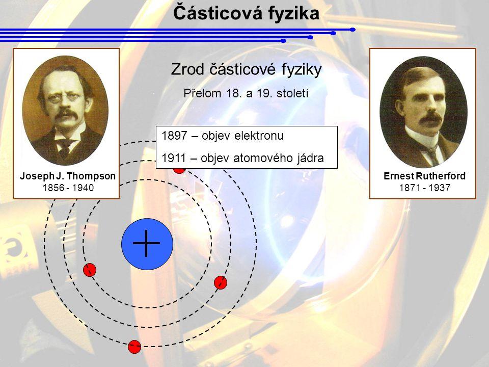 Částicová fyzika Joseph J. Thompson 1856 - 1940 Ernest Rutherford 1871 - 1937 Zrod částicové fyziky Přelom 18. a 19. století 1897 – objev elektronu 19