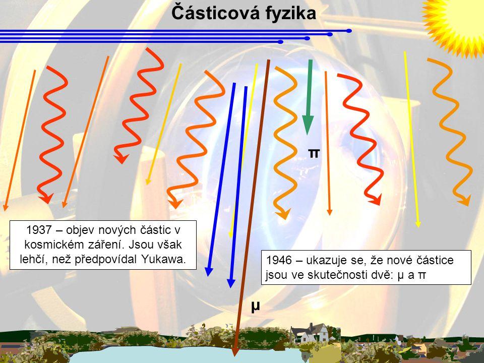 Částicová fyzika 1937 – objev nových částic v kosmickém záření. Jsou však lehčí, než předpovídal Yukawa. 1946 – ukazuje se, že nové částice jsou ve sk