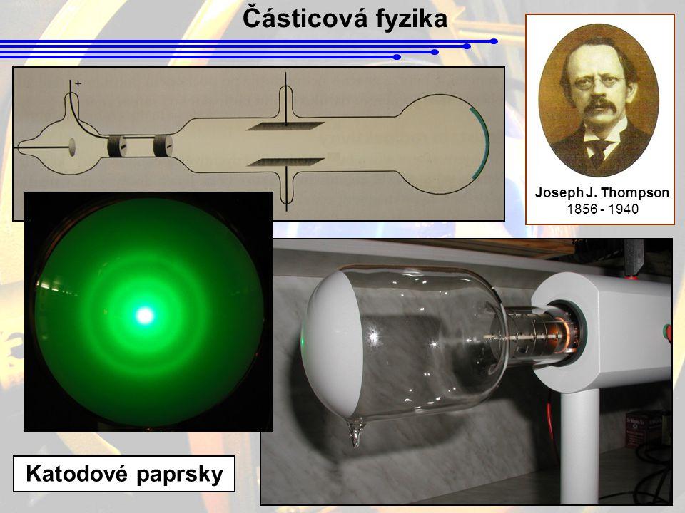 Částicová fyzika Ernest Rutherford 1871 - 1937 Proud α částic Tenká zlatá fólie Rozptýlené α částice Scintilátor Návrh (1920) : Existují protony a neutrony.