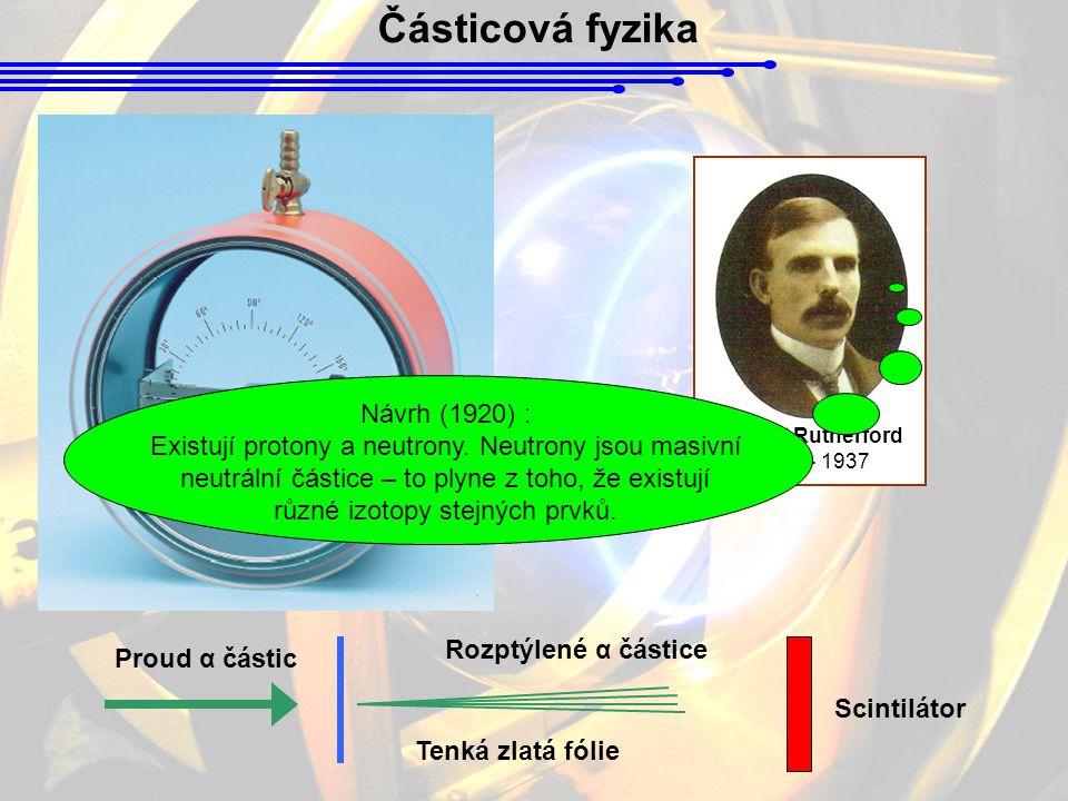 Částicová fyzika Ernest Rutherford 1871 - 1937 Proud α částic Tenká zlatá fólie Rozptýlené α částice Scintilátor Návrh (1920) : Existují protony a neu