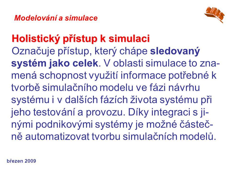 březen 2009 Holistický přístup k simulaci Označuje přístup, který chápe sledovaný systém jako celek. V oblasti simulace to zna- mená schopnost využití