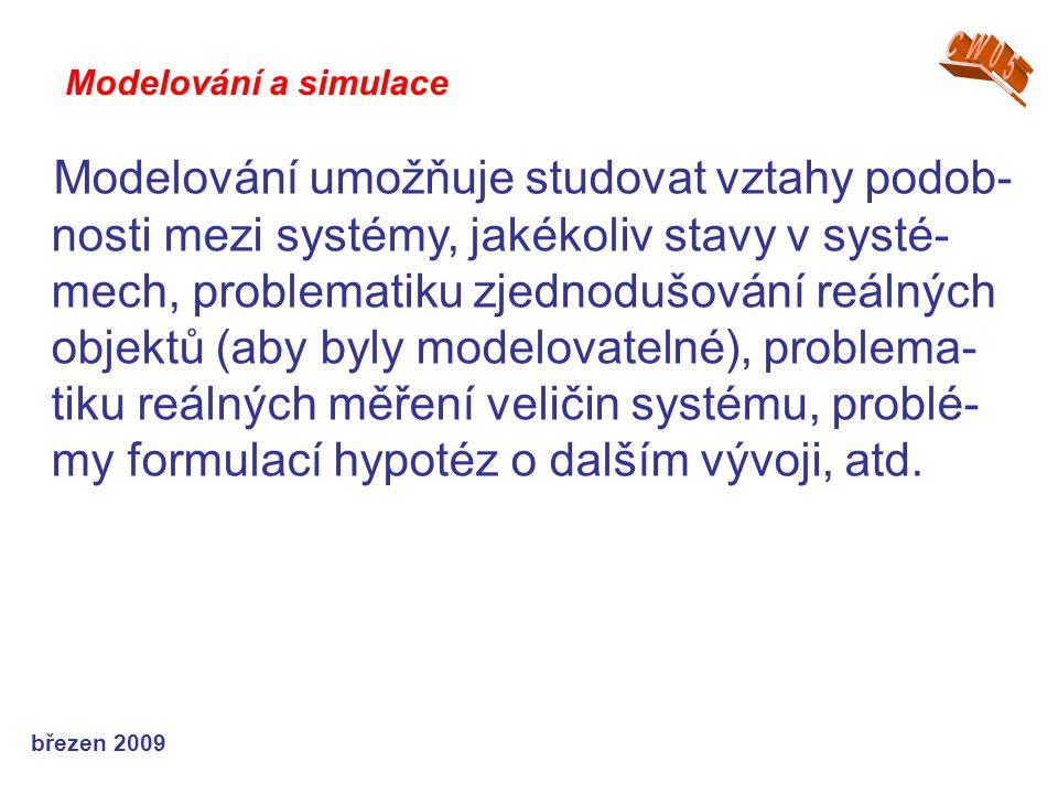 březen 2009 Modelování umožňuje studovat vztahy podob- nosti mezi systémy, jakékoliv stavy v systé- mech, problematiku zjednodušování reálných objektů