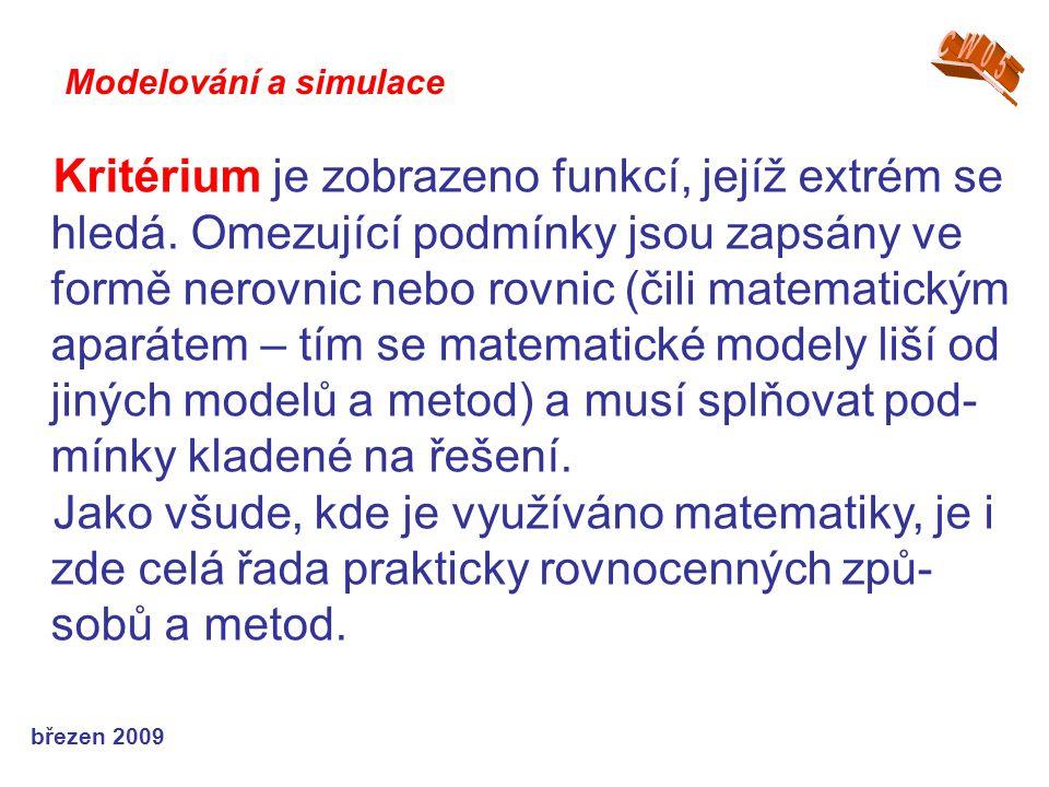 březen 2009 Kritérium je zobrazeno funkcí, jejíž extrém se hledá. Omezující podmínky jsou zapsány ve formě nerovnic nebo rovnic (čili matematickým apa