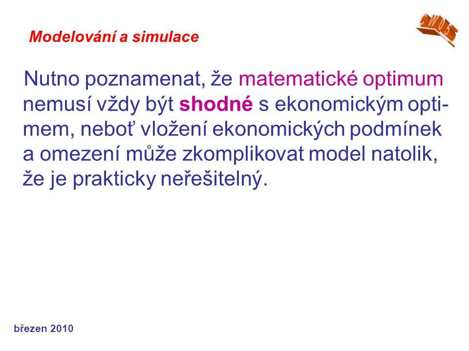 březen 2010 Nutno poznamenat, že matematické optimum nemusí vždy být shodné s ekonomickým opti- mem, neboť vložení ekonomických podmínek a omezení může zkomplikovat model natolik, že je prakticky neřešitelný.
