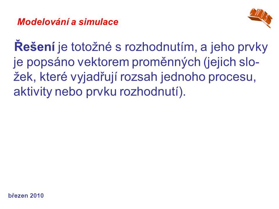 březen 2010 Řešení je totožné s rozhodnutím, a jeho prvky je popsáno vektorem proměnných (jejich slo- žek, které vyjadřují rozsah jednoho procesu, aktivity nebo prvku rozhodnutí).