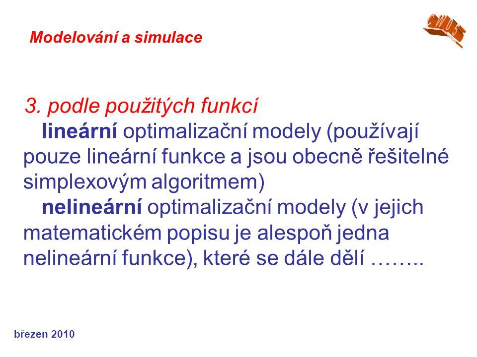 březen 2010 3. podle použitých funkcí lineární optimalizační modely (používají pouze lineární funkce a jsou obecně řešitelné simplexovým algoritmem) n