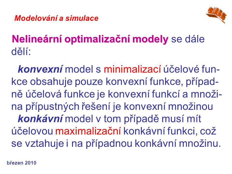 březen 2010 Nelineární optimalizační modely Nelineární optimalizační modely se dále dělí: konvexní model s minimalizací účelové fun- kce obsahuje pouze konvexní funkce, případ- ně účelová funkce je konvexní funkcí a množi- na přípustných řešení je konvexní množinou konkávní model v tom případě musí mít účelovou maximalizační konkávní funkci, což se vztahuje i na případnou konkávní množinu.