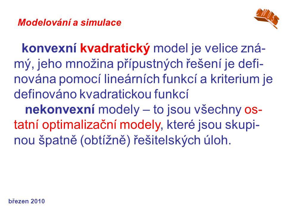 březen 2010 konvexní kvadratický model je velice zná- mý, jeho množina přípustných řešení je defi- nována pomocí lineárních funkcí a kriterium je definováno kvadratickou funkcí nekonvexní modely – to jsou všechny os- tatní optimalizační modely, které jsou skupi- nou špatně (obtížně) řešitelských úloh.