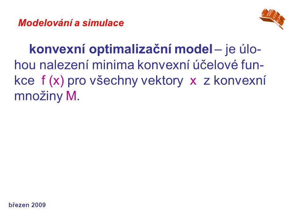 březen 2009 konvexní optimalizační model – je úlo- hou nalezení minima konvexní účelové fun- kce f (x) pro všechny vektory x z konvexní množiny M. Mod