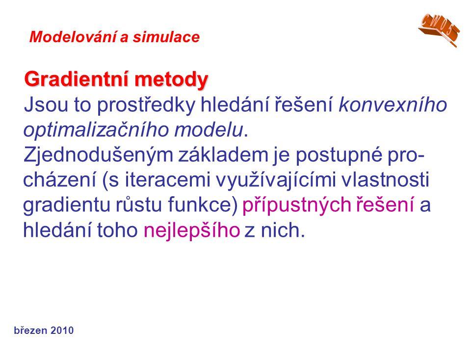 březen 2010 Gradientní metody Jsou to prostředky hledání řešení konvexního optimalizačního modelu. Zjednodušeným základem je postupné pro- cházení (s
