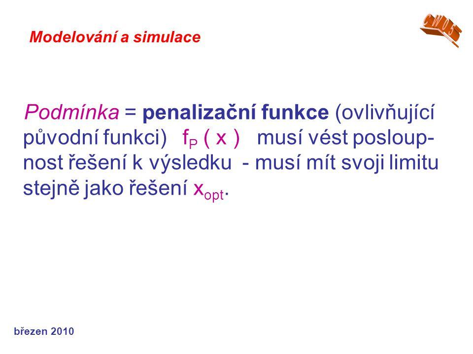 březen 2010 Podmínka = penalizační funkce (ovlivňující původní funkci) f P ( x ) musí vést posloup- nost řešení k výsledku - musí mít svoji limitu ste