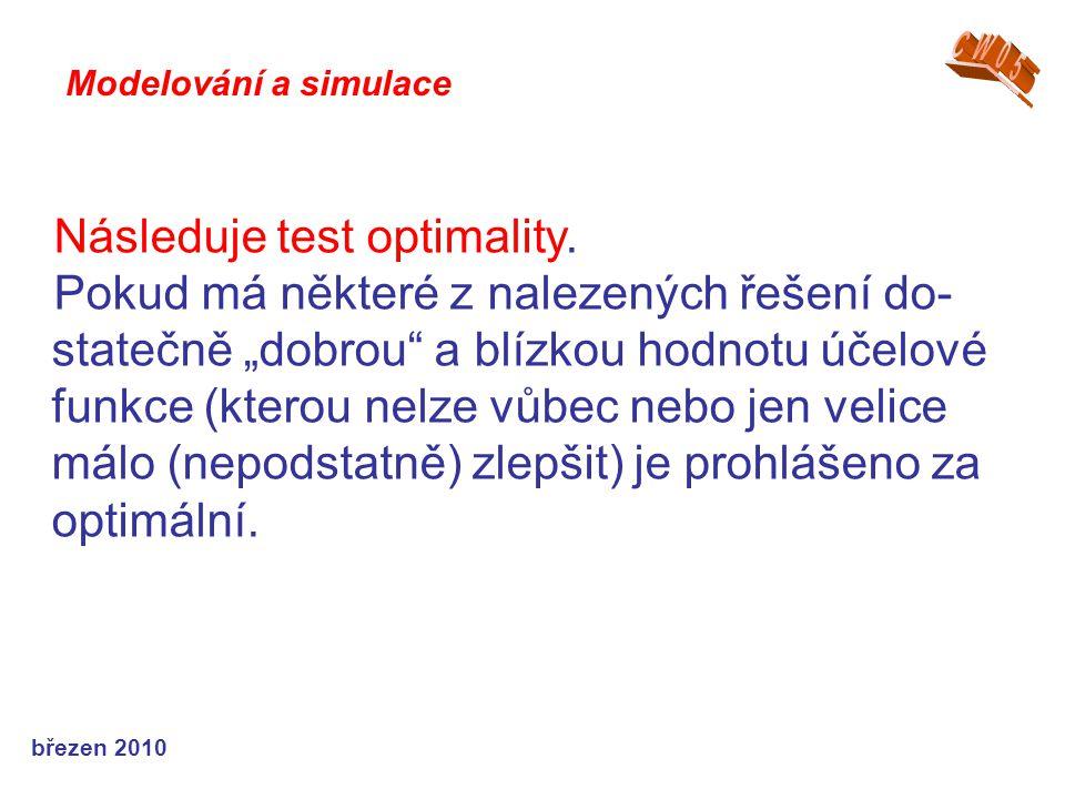 """březen 2010 Následuje test optimality. Pokud má některé z nalezených řešení do- statečně """"dobrou"""" a blízkou hodnotu účelové funkce (kterou nelze vůbec"""