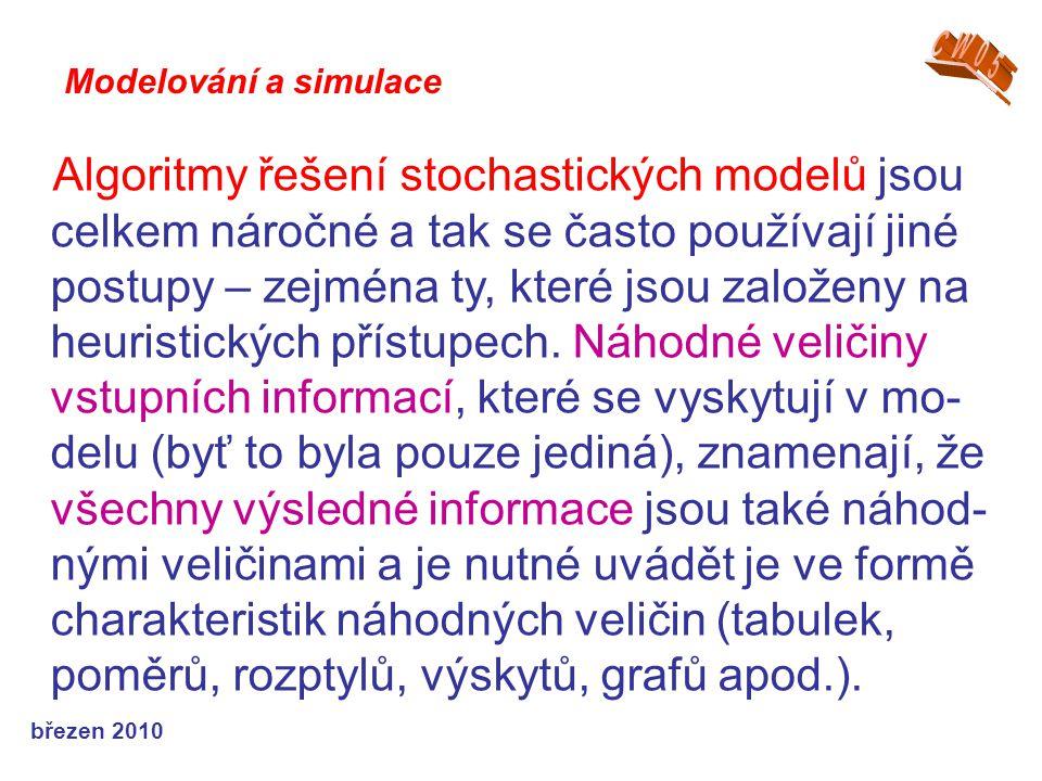 březen 2010 Algoritmy řešení stochastických modelů jsou celkem náročné a tak se často používají jiné postupy – zejména ty, které jsou založeny na heuristických přístupech.