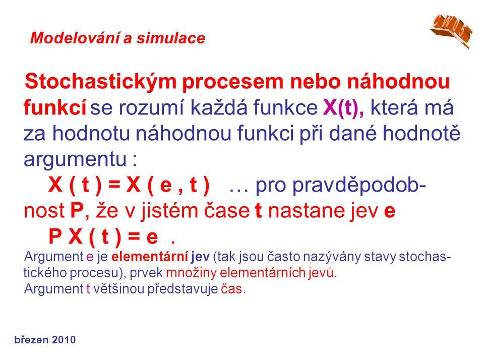březen 2010 Stochastickým procesem nebo náhodnou funkcí se rozumí každá funkce X(t), která má za hodnotu náhodnou funkci při dané hodnotě argumentu : X ( t ) = X ( e, t ) … pro pravděpodob- nost P, že v jistém čase t nastane jev e P X ( t ) = e.