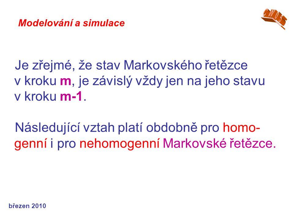 březen 2010 Je zřejmé, že stav Markovského řetězce v kroku m, je závislý vždy jen na jeho stavu v kroku m-1. Následující vztah platí obdobně pro homo-