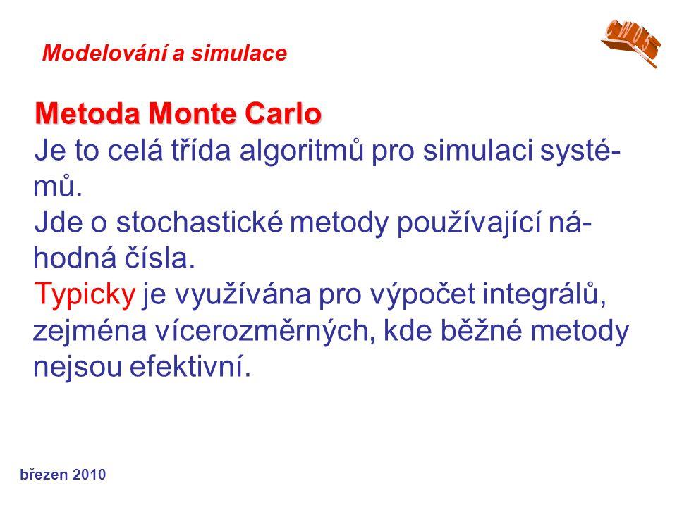 březen 2010 Metoda Monte Carlo Je to celá třída algoritmů pro simulaci systé- mů. Jde o stochastické metody používající ná- hodná čísla. Typicky je vy