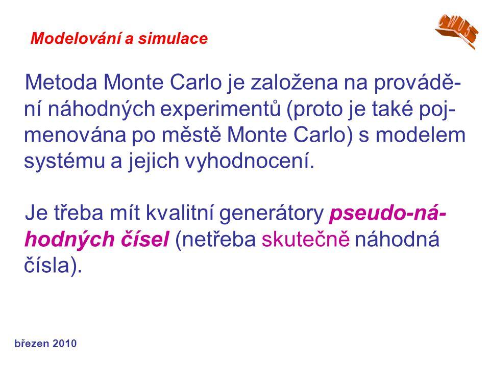 březen 2010 Metoda Monte Carlo je založena na provádě- ní náhodných experimentů (proto je také poj- menována po městě Monte Carlo) s modelem systému a