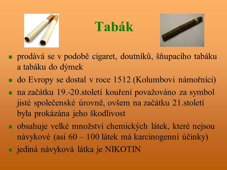 Tabák prodává se v podobě cigaret, doutníků, šňupacího tabáku a tabáku do dýmek do Evropy se dostal v roce 1512 (Kolumbovi námořníci) na začátku 19.-20.století kouření považováno za symbol jisté společenské úrovně, ovšem na začátku 21.století byla prokázána jeho škodlivost obsahuje velké množství chemických látek, které nejsou návykové (asi 60 – 100 látek má karcinogenní účinky) jediná návyková látka je NIKOTIN
