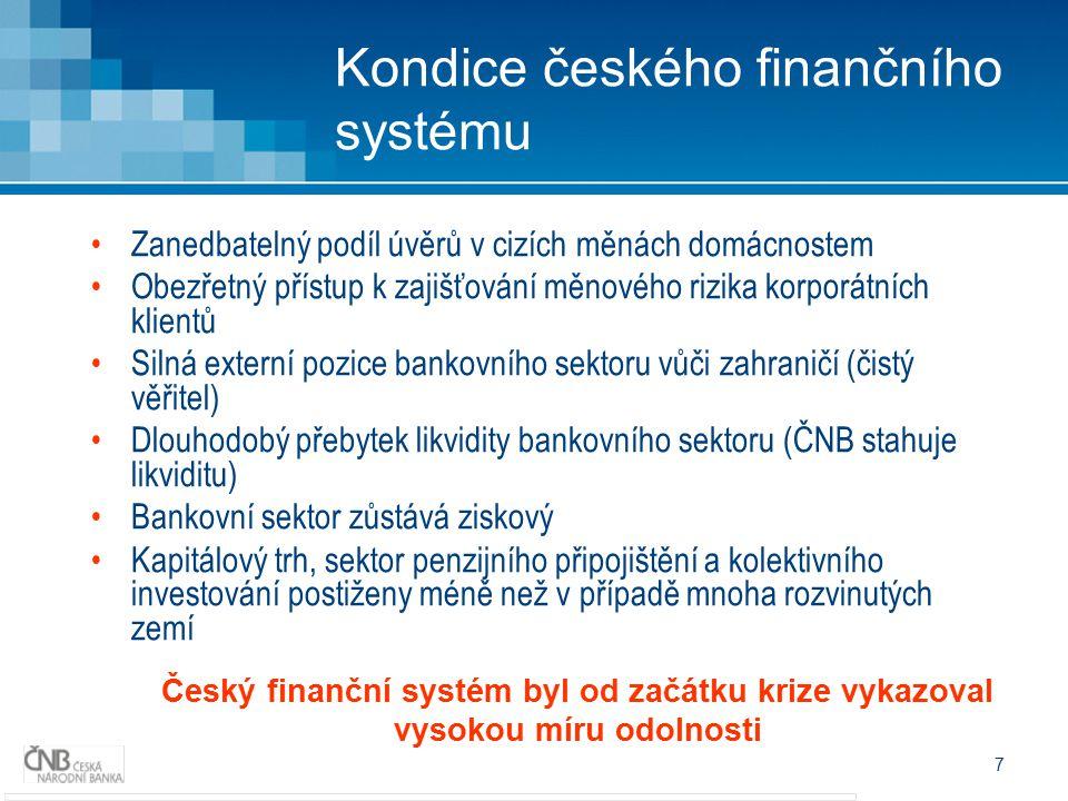 7 Kondice českého finančního systému Zanedbatelný podíl úvěrů v cizích měnách domácnostem Obezřetný přístup k zajišťování měnového rizika korporátních