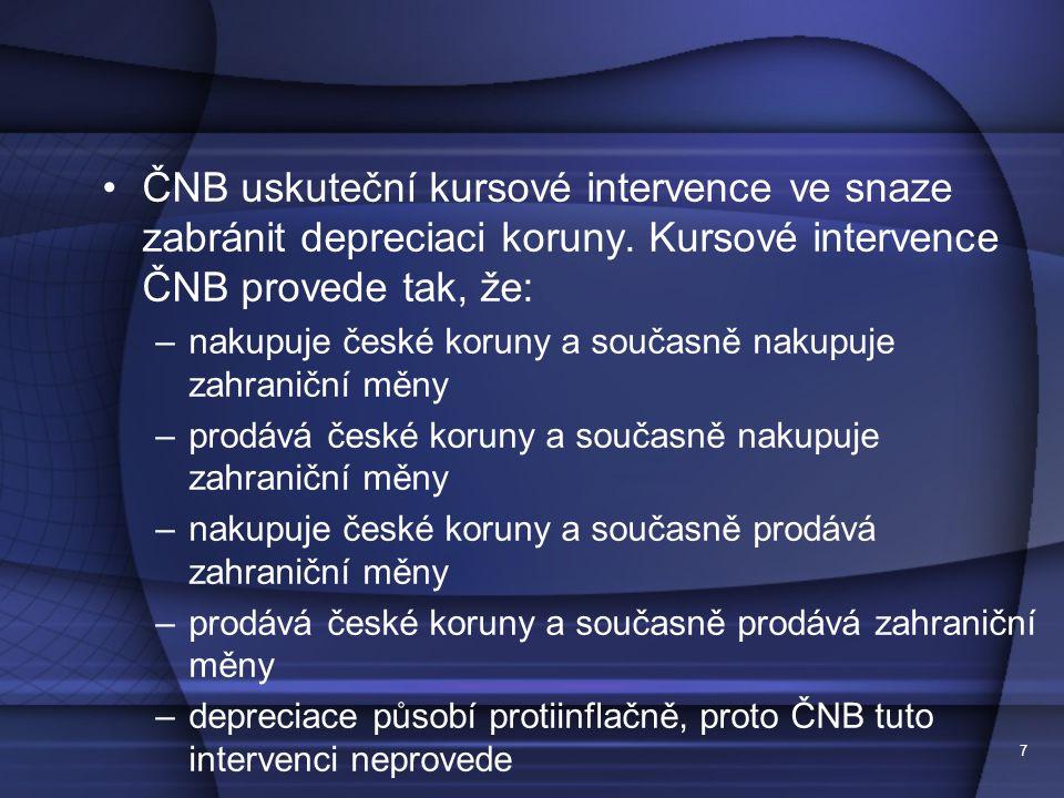 7 ČNB uskuteční kursové intervence ve snaze zabránit depreciaci koruny.