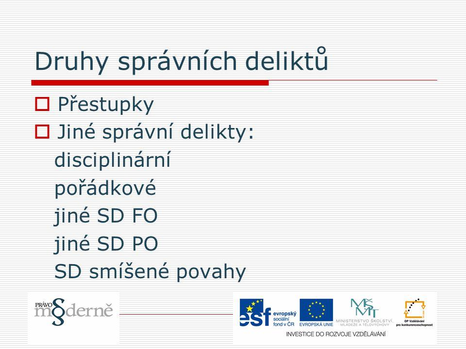 Druhy správních deliktů  Přestupky  Jiné správní delikty: disciplinární pořádkové jiné SD FO jiné SD PO SD smíšené povahy