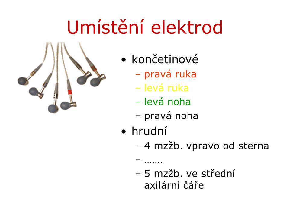 Umístění elektrod končetinové –pravá ruka –levá ruka –levá noha –pravá noha hrudní –4 mzžb. vpravo od sterna –……. –5 mzžb. ve střední axilární čáře