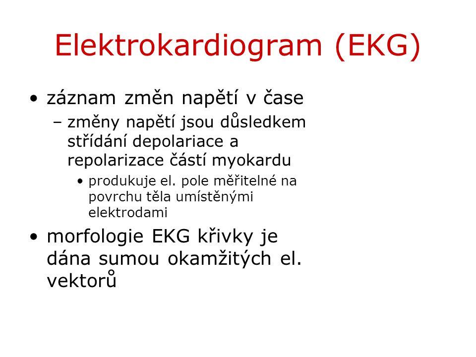Elektrokardiogram (EKG) záznam změn napětí v čase –změny napětí jsou důsledkem střídání depolariace a repolarizace částí myokardu produkuje el. pole m