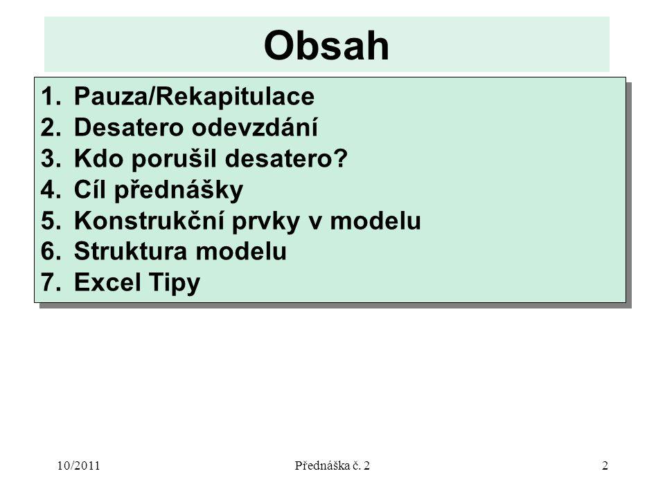 10/2011Přednáška č. 22 Obsah 1.Pauza/Rekapitulace 2.Desatero odevzdání 3.Kdo porušil desatero.