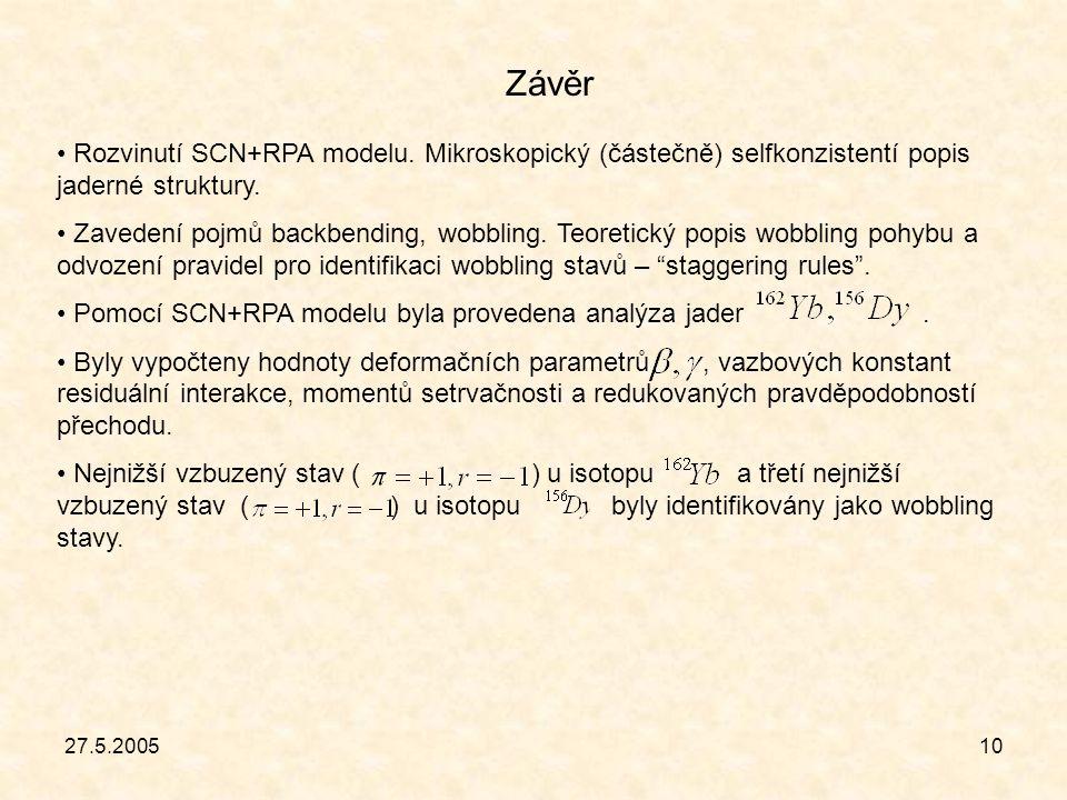 10 Závěr Rozvinutí SCN+RPA modelu. Mikroskopický (částečně) selfkonzistentí popis jaderné struktury. Zavedení pojmů backbending, wobbling. Teoretický