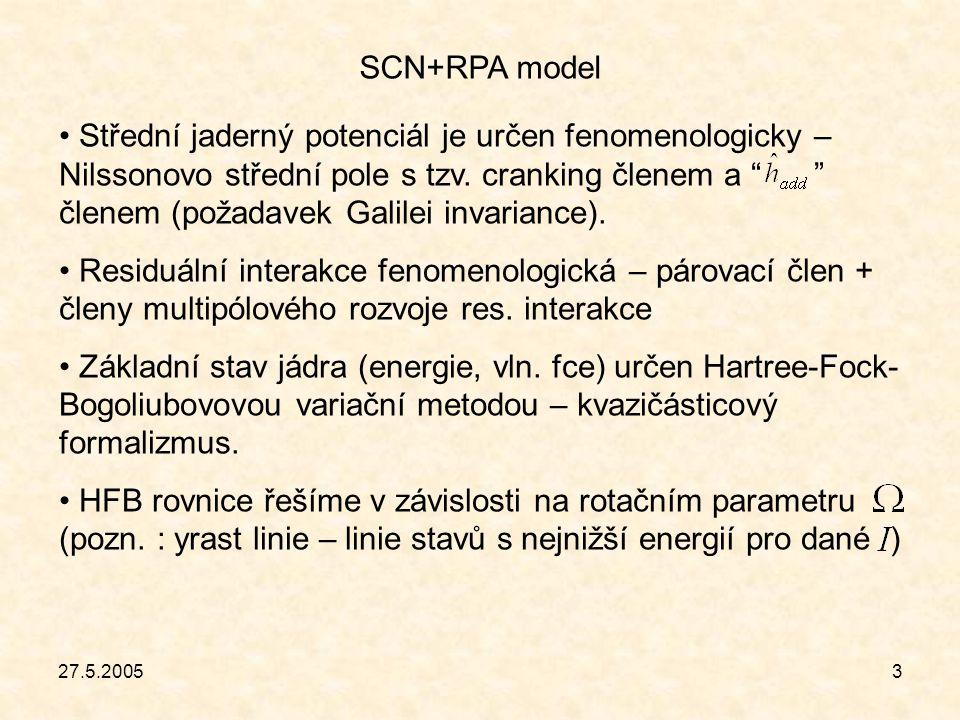 """27.5.20053 SCN+RPA model Střední jaderný potenciál je určen fenomenologicky – Nilssonovo střední pole s tzv. cranking členem a """" """" členem (požadavek G"""