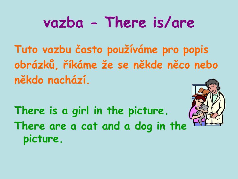 vazba - There is/are Tuto vazbu často používáme pro popis obrázků, říkáme že se někde něco nebo někdo nachází. There is a girl in the picture. There a