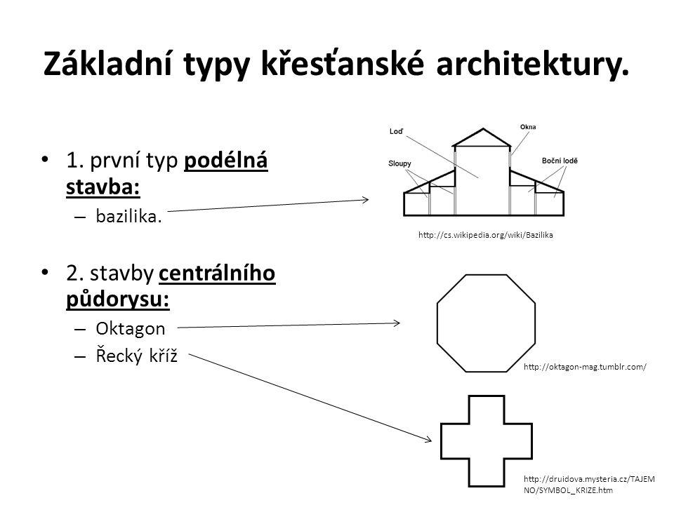 Základní typy křesťanské architektury. 1. první typ podélná stavba: – bazilika. 2. stavby centrálního půdorysu: – Oktagon – Řecký kříž http://oktagon-