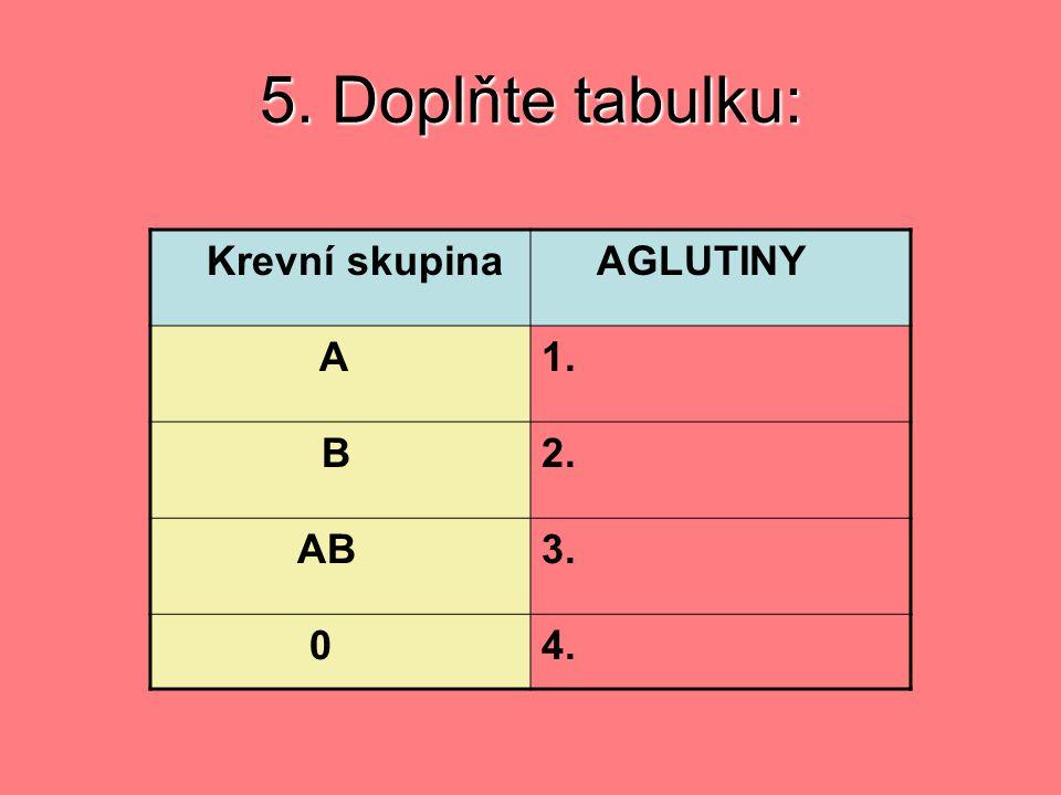 5. Doplňte tabulku: Krevní skupina AGLUTINY A1. B2. AB3. 04.