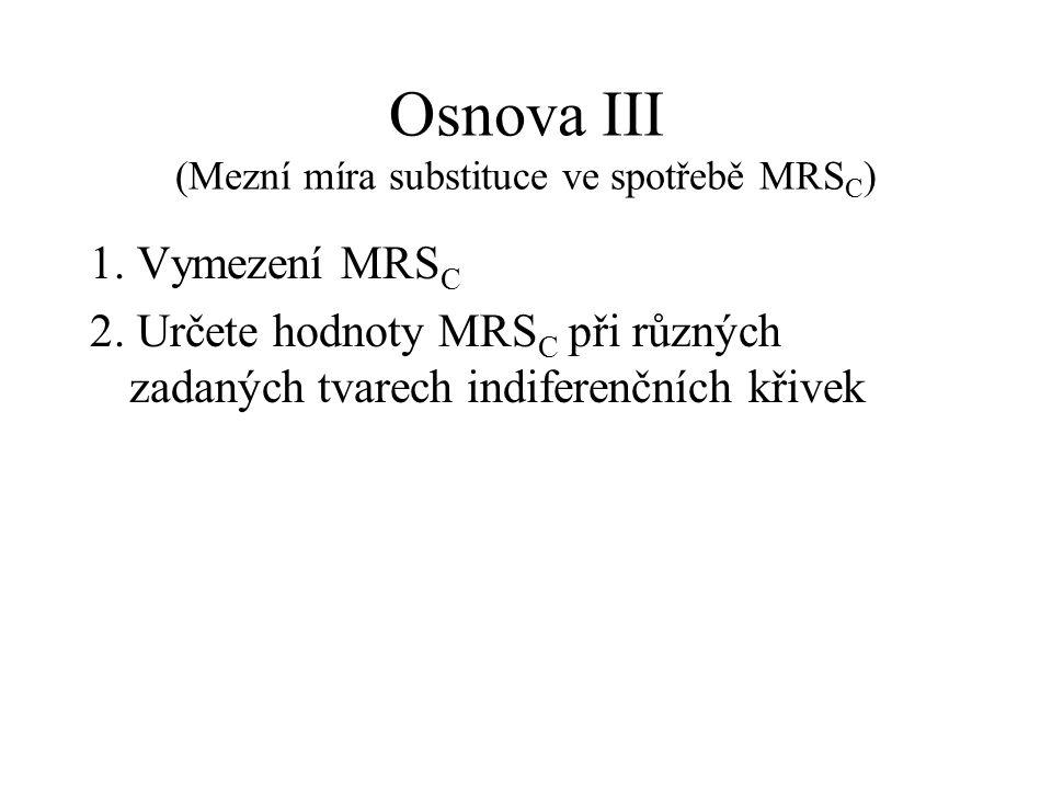 Osnova III (Mezní míra substituce ve spotřebě MRS C ) 1.