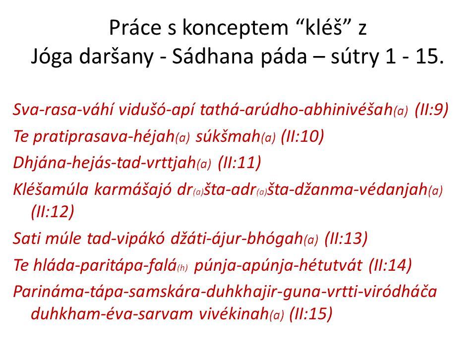 """Práce s konceptem """"kléš"""" z Jóga daršany - Sádhana páda – sútry 1 - 15. Sva-rasa-váhí vidušó-apí tathá-arúdho-abhinivéšah (a) (II:9) Te pratiprasava-hé"""