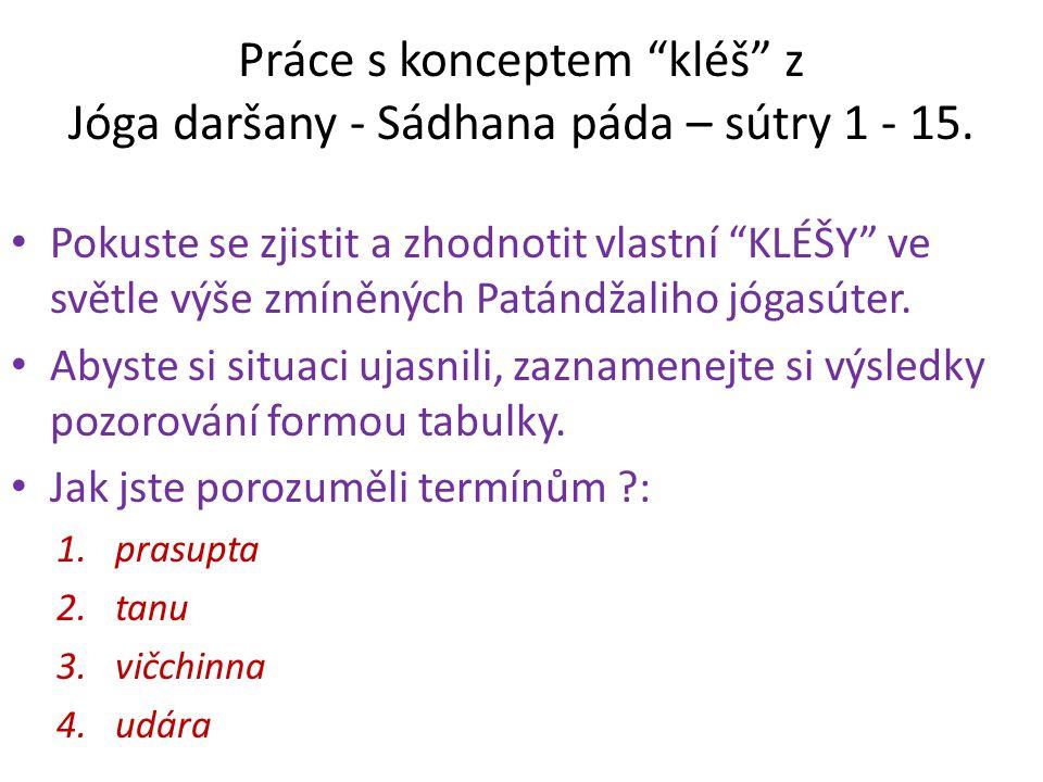 Práce s konceptem kléš z Jóga daršany - Sádhana páda – sútry 1 - 15.
