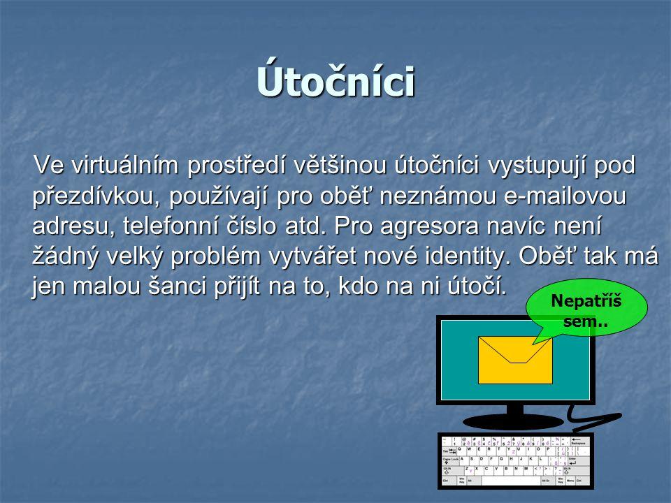 Útočníci Ve virtuálním prostředí většinou útočníci vystupují pod přezdívkou, používají pro oběť neznámou e-mailovou adresu, telefonní číslo atd. Pro a