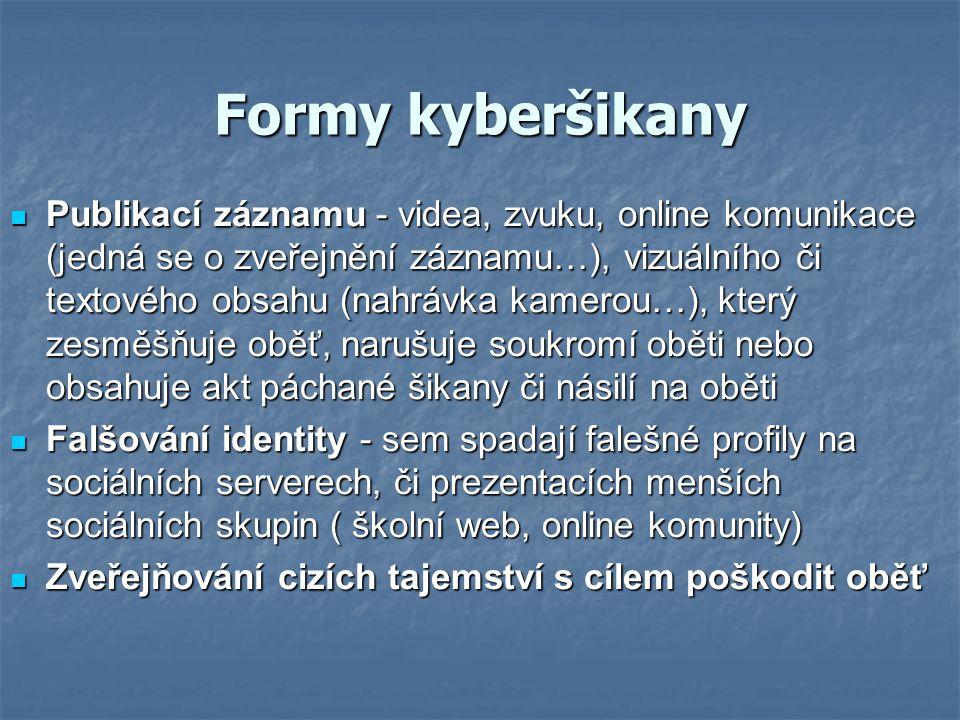 Formy kyberšikany Publikací záznamu - videa, zvuku, online komunikace (jedná se o zveřejnění záznamu…), vizuálního či textového obsahu (nahrávka kamer