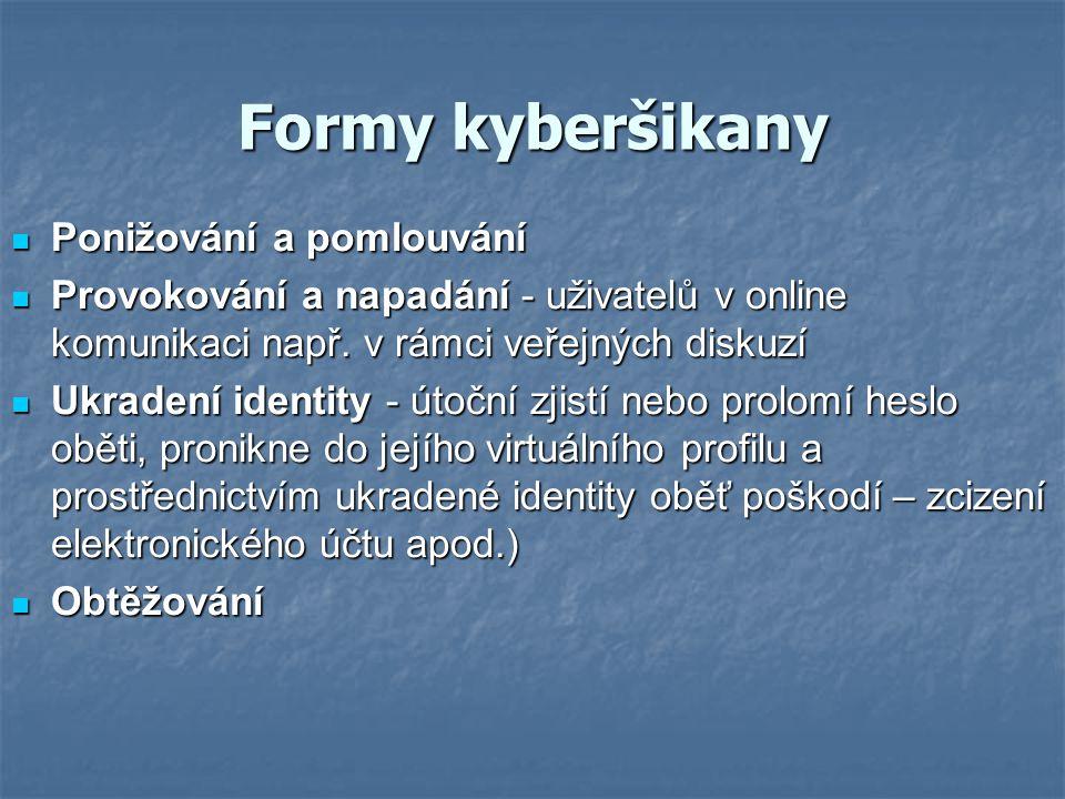 Formy kyberšikany Ponižování a pomlouvání Ponižování a pomlouvání Provokování a napadání - uživatelů v online komunikaci např. v rámci veřejných disku