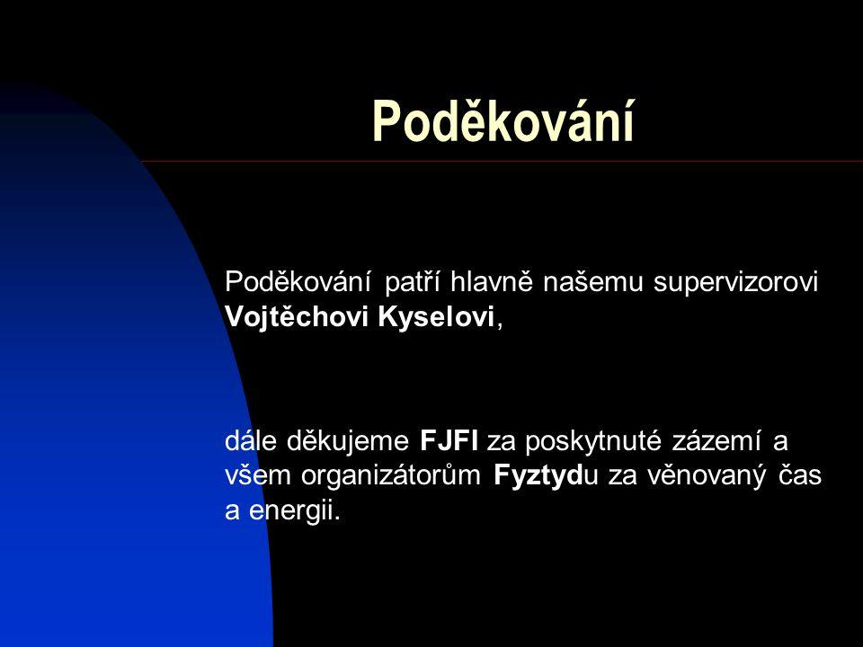 Poděkování Poděkování patří hlavně našemu supervizorovi Vojtěchovi Kyselovi, dále děkujeme FJFI za poskytnuté zázemí a všem organizátorům Fyztydu za v