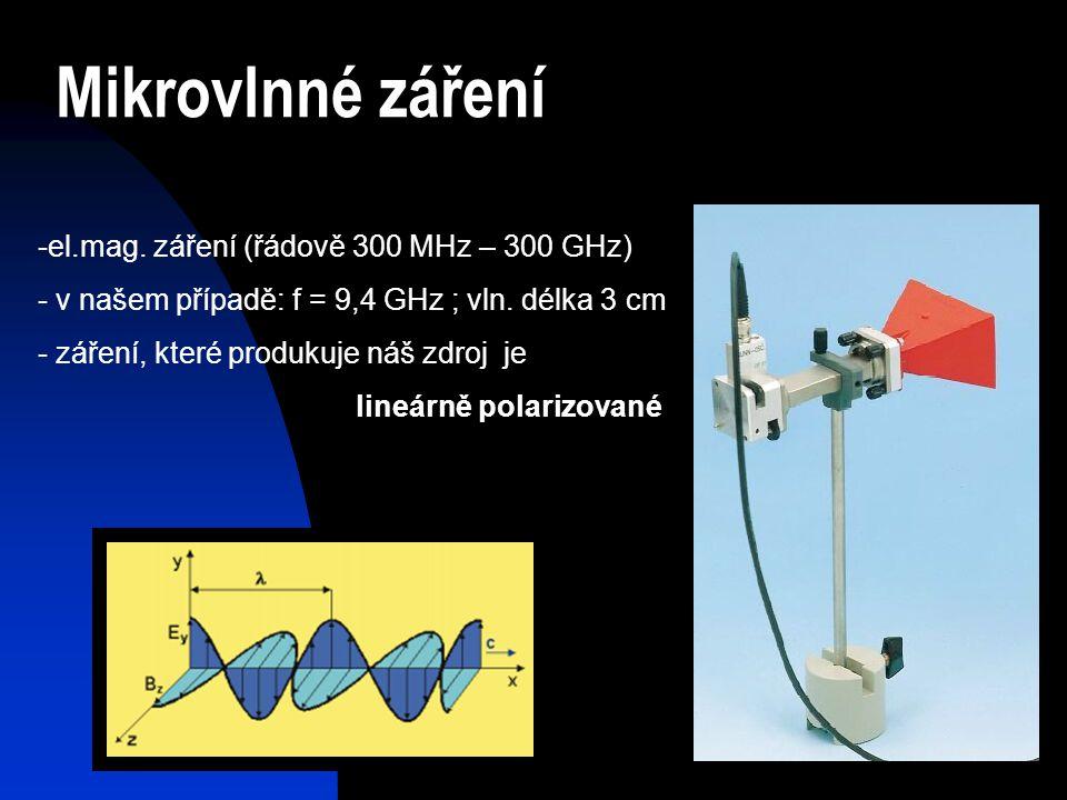 Mikrovlnné záření -el.mag. záření (řádově 300 MHz – 300 GHz) - v našem případě: f = 9,4 GHz ; vln. délka 3 cm - záření, které produkuje náš zdroj je l